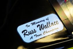 Steve Wallace displays a tribute to Russ Wallace