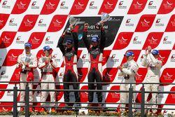 Podium: drivers champions Michael Krumm, Lucas Luhr, second place Darren Turner, Stefan Mücke, third place Andrea Piccini, Christian Hohenadel