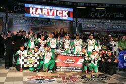 Kevin Harvick celebrates his win