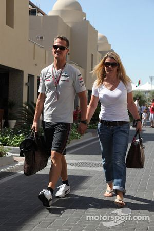 Michael Schumacher, Mercedes GP F1 Team and Corina Schumacher, Wife of Michael Schumacher, Mercedes GP F1 Team
