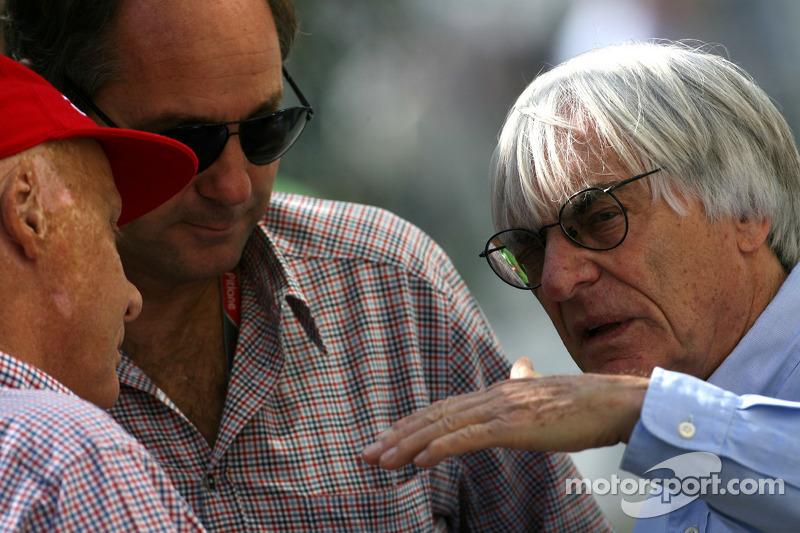 Niki Lauda, Gerhard Berger and Bernie Ecclestone