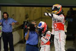 Race winner Lewis Hamilton, McLaren Mercedes, third place Jenson Button, McLaren Mercedes