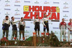 LMP1 Podium, Winner #7 Peugeot Sport Total Peugeot 908: Sébastien Bourdais, Anthony Davidson, 2nd #8