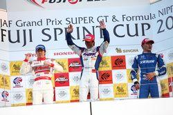 GT500 race 2 podium: winner Takuya Izawa, second place Masataka Yanagida, third place Toshihiro Kane