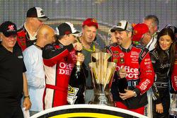 Victory lane: NASCAR Sprint Cup Series 2011 champion Tony Stewart, Stewart-Haas Racing Chevrolet celebrates with crew chief Darian Grubb