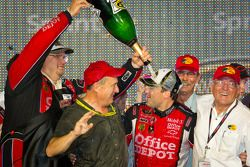 Victory lane: NASCAR Sprint Cup Series 2011 champion Tony Stewart, Stewart-Haas Racing Chevrolet celebrates with champagne