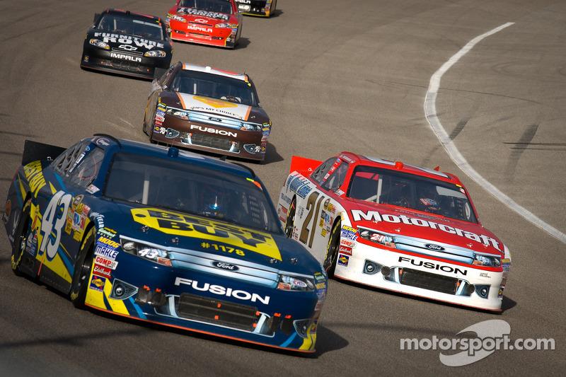 A.J. Allmendinger, Richard Petty Motorsports Ford, Trevor Bayne, Wood Brothers Racing Ford
