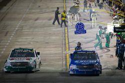 Pit stop for James Buescher, Turner Motorsport Chevrolet and Kevin Harvick, Kevin Harvick Inc. Chevrolet