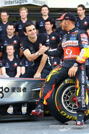 Pedro de la Rosa, test driver, McLaren Mercedes en Lewis Hamilton, McLaren Mercedes