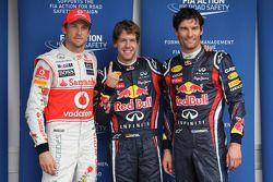 Sebastian Vettel, Red Bull Racing op pole, met Jenson Button, McLaren Mercedes en Mark Webber, Red B