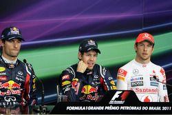 Polezitter Sebastian Vettel, Red Bull Racing, 2de Mark Webber, Red Bull Racing, 3de Jenson Button, M