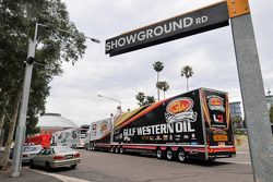 Transporters arrive at the track