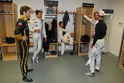 Romain Grosjean, Sébastien Ogier, Andy Priaulx, Jenson Button and Michael Schumacher