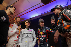 Jenson Button, Michael Schumacher, Sebastian Vettel ve Travis Pastrana