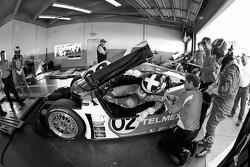 Pit stop practice for #02 Chip Ganassi Racing with Felix Sabates BMW Riley: Scott Dixon, Dario Franchitti, Jamie McMurray, Juan Pablo Montoya