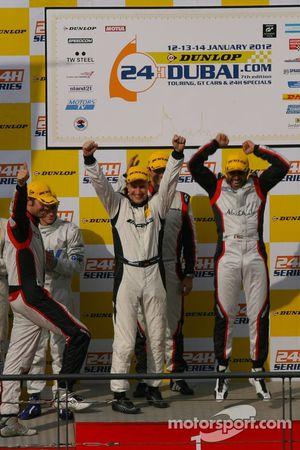 Podium: race winners Khaled Al Qubaisi, Sean Edwards, Jeroen Bleekemolen, Thomas Jäger