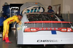 A.J. Allmendinger, Penske Racing Dodge talks with Brad Keselowski, Penske Racing Dodge