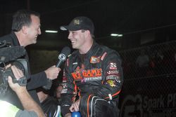 Kevin Swindell celebrates winning the 26th Lucas Oil Chili Bowl
