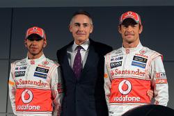 Lewis Hamilton, McLaren Mercedes, with Martin Whitmarsh and Jenson Button, McLaren Mercedes