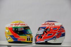 Lewis Hamilton, McLaren Mercedes and Jenson Button, McLaren Mercedes, helmets