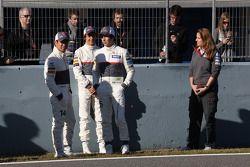 Kamui Kobayashi, Sauber F1 Team con Esteban Gutiérrez, Sauber F1 Team y Sergio Pérez, Sauber F1 Team