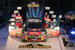 Podium: second place Mikko Hirvonen and Jarmo Lehtinen, Citroën DS3 WRC, Citroën Total World Rally T