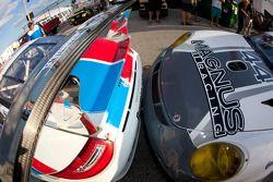 Pole winning car #59 Brumos Racing Porsche GT3 followed closely by #44 Magnus Racing Porsche GT3
