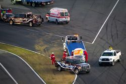 Safety crew at work after the finish line crash