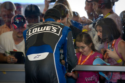 Jimmie Johnson, Hendrick Motorsports Chevrolet signs autographs