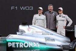Nico Rosberg, Mercedes-Teamchef Ross Brawn, Michael Schumacher