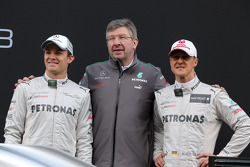 Nico Rosberg, Mercedes-Teamchef Ross Brawn, Michael Schumacher