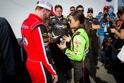 Pole winner Danica Patrick, JR Motorsports Chevrolet with Dale Earnhardt Jr., JR Motorsports Chevrolet