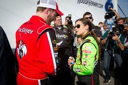 Pole winner Danica Patrick, JR Motorsports Chevrolet with Dale Earnhardt Jr., JR Motorsports Chevrol