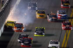 Paulie Harraka, Wauters Motorsport Ford hits by Jason Leffler, Kyle Busch Motorsports Toyota