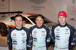 Drivers Darren Turner, Adrian Fernandez and Stefan Mücke with the Aston Martin Racing Vantage GTE