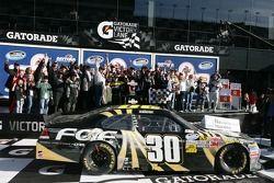 Victory lane: race winner James Buescher, Turner Motorsports Chevrolet celebrates