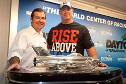 Press conference: professional wrestler John Cena with Daytona International President Joie Chitwood