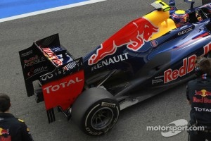 Mark Webber, Red Bull Racing with a new exhaust system