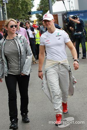 Sabine Kehm, Michael Schumacher's manager and Michael Schumacher, Mercedes GP