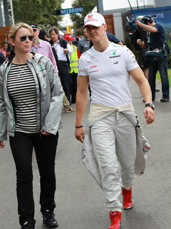 Sabine Kehm, Michael Schumacher's manager and Michael Schumacher, Mercedes GP