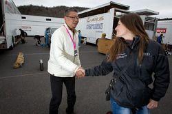Cyndie Allemann with Hitotsuyama Racing chief engineer Oniki