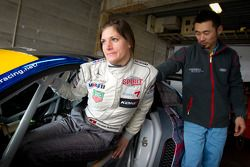 Seating fitting for Cyndie Allemann, with chief mechanic Kyoungmo Kim