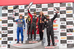 GTS Podium: first place Jade Buford, Racers Edge Motorsports, second place Lawson Aschenbach, Blackdog Speed Shop, third place Anthony Mantella, Mantella Autosport