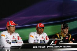 Press conference, Jenson Button, McLaren Mercedes, Lewis Hamilton, McLaren Mercedes and Romain Grosjean, Lotus F1 Team