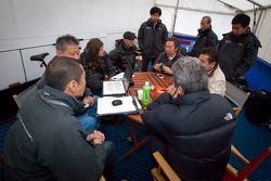 Morning meeting at Hitotsuyama Racing: Cyndie Allemann, Michael Kim, Frank Yu, Ken Kobayashi, Hideki