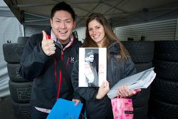 Cyndie Allemann with a fan