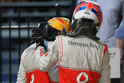 Lewis Hamilton, McLaren Mercedes and 1st place Jenson Button, McLaren Mercedes
