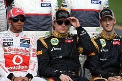 Lewis Hamilton, McLaren Mercedes ve Kimi Raikkonen, Lotus F1 Team ve Romain Grosjean, Lotus F1 Team