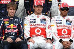 Sebastian Vettel, Red Bull Racing, Jenson Button, McLaren Mercedes ve Lewis Hamilton, McLaren Merced