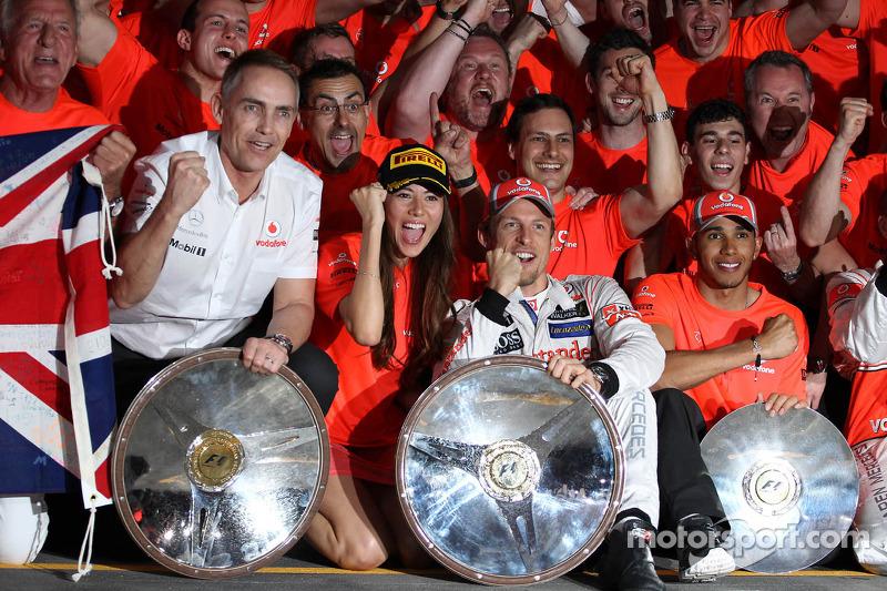 The McLaren team celebrate Jenson Button, McLaren Mercedes win with John Button, Martin Whitmarsh, M